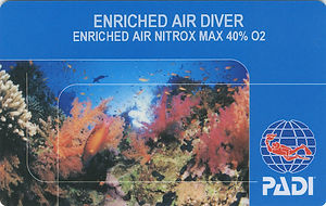PADI Enriched Air Nitox Diver (EANx) Certification Card