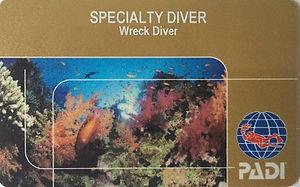 PADI Wreck Diver Certificaton Card