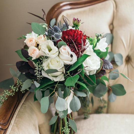 Bridal Bouquet on Creme Sofa