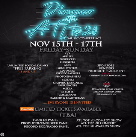 #DinnerWithATLTop20 Music Conference Nov. 15-17 2k19