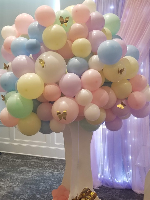 A whimsical butterfly inspired celebration. Bolloon Tree - Ariana's 1st Birthday
