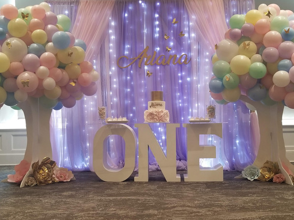 A whimsical butterfly inspired celebration. Dessert Table - Ariana's 1st Birthday