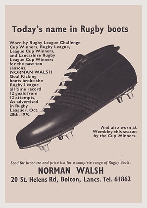 """""""Todays Name in Rugby Boots"""" Print"""