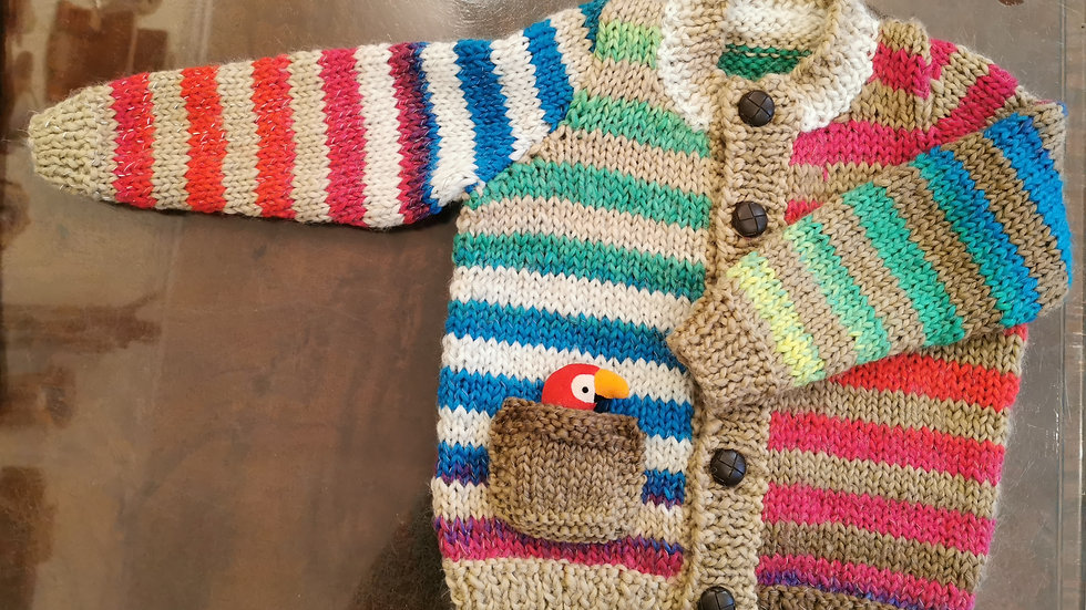 Boys Cardie with Parrot pocket