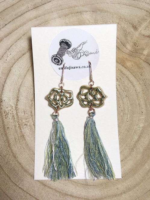 Lotus Flower Earrings with Silk Tassle