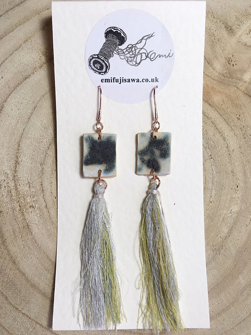 Square Earrings with Silk Tassle
