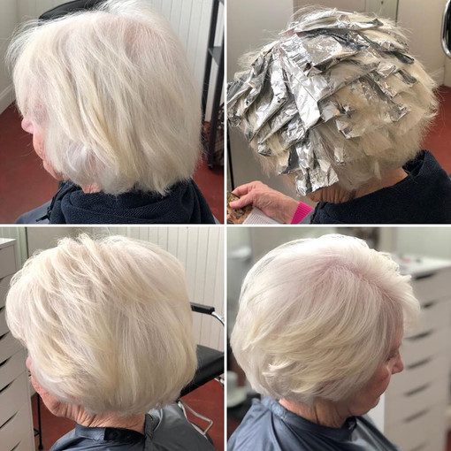 Brighten your grey with some highlights.