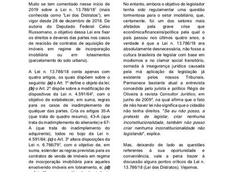 "Análise crítica da Lei n. 13.786/18 (""Lei dos Distratos"")"