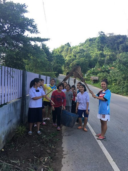 Cleaning the area