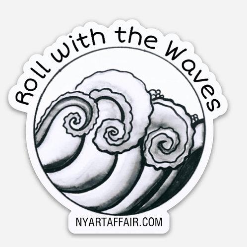 Roll With Waves  Die Cut Sticker