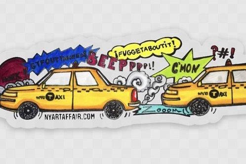 NYC Taxi Jam Transparent Sticker