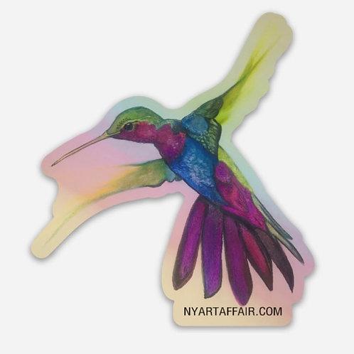 Holographic Humming Bird Die Cut Sticker