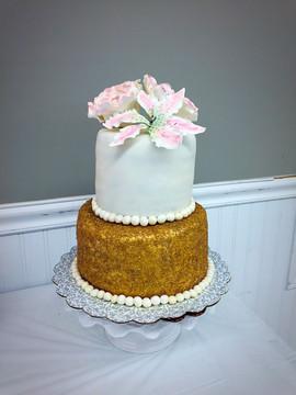 Gold Bridal Shower Cake
