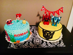 Transformers and Little Mermaid Cakes