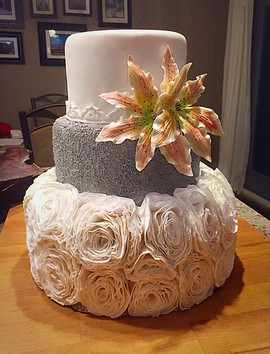 Silver and Ruffled Cake