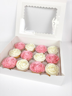 Pink and White Christening Cupcakes