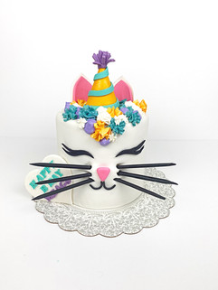 Cat Gender Reveal cake disguised as a Birthday Cake