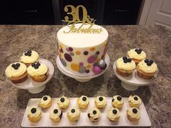 Surprise 30th Birthday Cake and Cupcakes