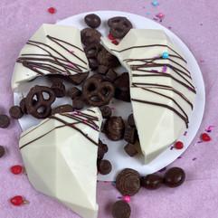 White Chocolate Heart Smash Cake with Chocolate