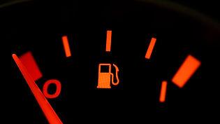 A fuel gauge showing empty