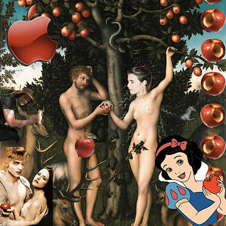 A collage: Eve hands Adam the poisoned apple from Snow White in the garden of Eden but Eve has someone else's face. Snow white pokes in from a corner, and Edward and Bella from Twiligh poke in from another. A big red Apple computer symbol sits above everything.