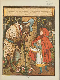 An illustration from Little Red Riding hood, showing Little Red meeting the wolf in the woods