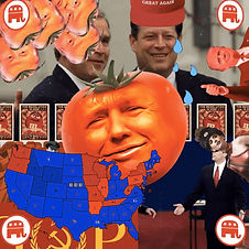 A frantic medley of associations. Trump's face is superimposed on a tomato, a map of the USA is broken up into blue and red, Zoya the Destroyer pops in from the side, Al Gore sheds tears as a 'Make America Great Again' hat lowers onto his head, President Bush stands smugly next to him.