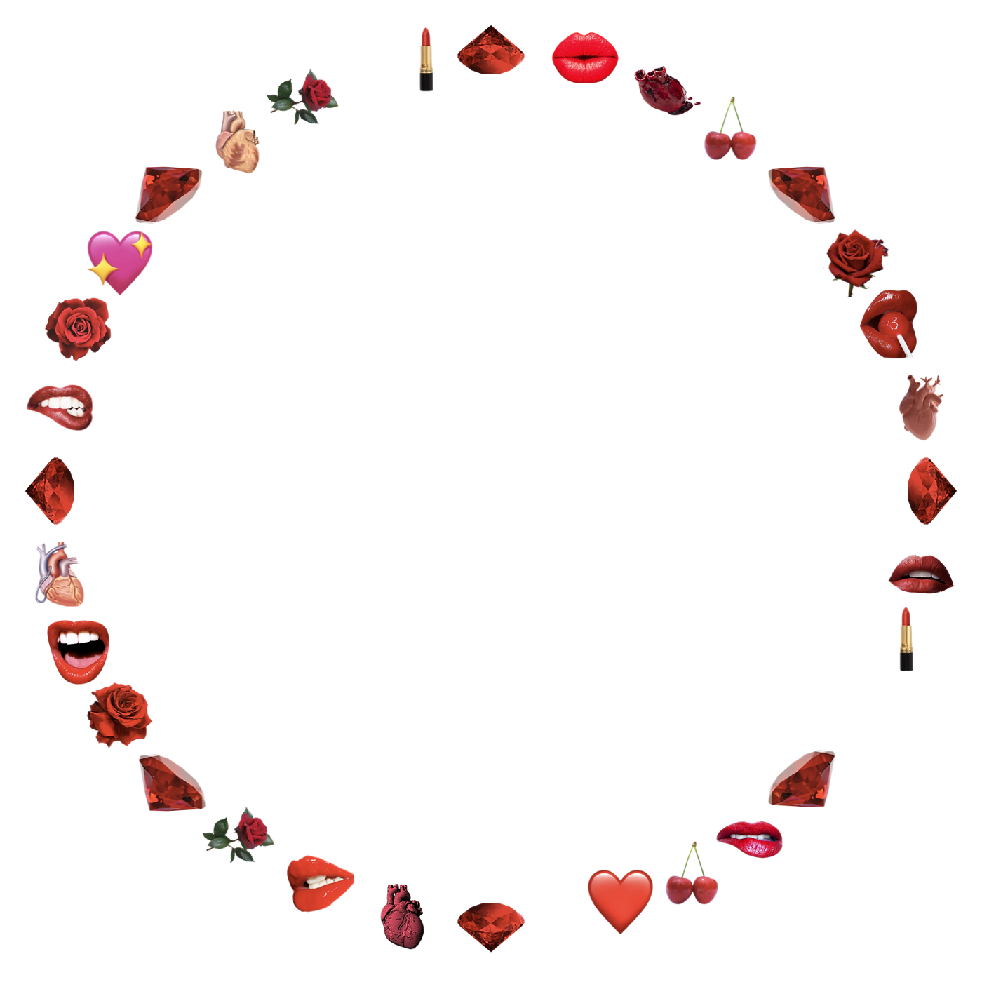 A circle of red: hearts, lips, lingerie, rubies, cherries