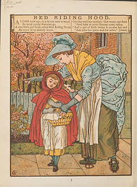 An illustration from Little Red Riding hood, showing her mother sending her on her way with a hamper for her grandmother