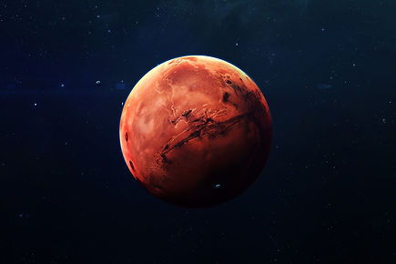 The planet Mars against a dark blue universe