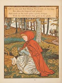 An illustration from Little Red Riding hood, showing Little Red stopping in a field to play