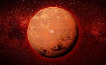 The planet Mars against a dark red universe