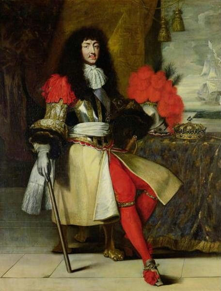 A painting of Louis XIV wearing bright red tights