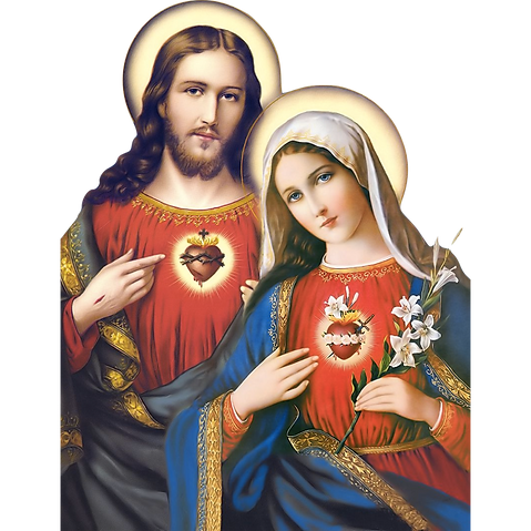 A painting of Jesus and Mary, both wearing red dress shirts. Jesus has a stigmata mark on his hand