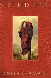 The Red Tent by Anita Diamant book cover. A woman is wrapped in swathes of red fabric against a backdrop of mountains and sky.