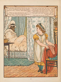An illustration from Little Red Riding hood, showing Little Red discovering the wolf is in her grandmother's bed, dressed in her grandmother's clothes