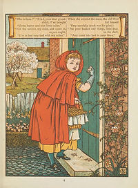 An illustration from Little Red Riding hood, showing Little Red knocking on her grandmother's door