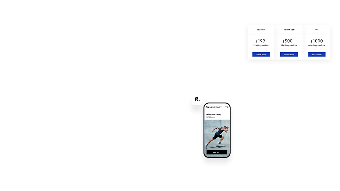 Die mobile Version der Runnerzone Fitness-Website, die zeigt, wie man Pakete kaufen kann, wie die Website auf dem Handy aussieht und das Logo enthält.