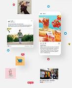 Un ensemble de posts qui présentent des utilisateurs Wix sur les chaines de réseaux sociaux de Wix pour les exposer à un large public.