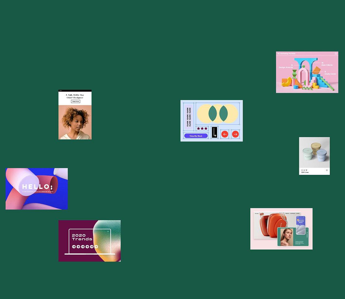 Onglets et visuels flottants d'articles de blog et d'autre éléments d'un site web.