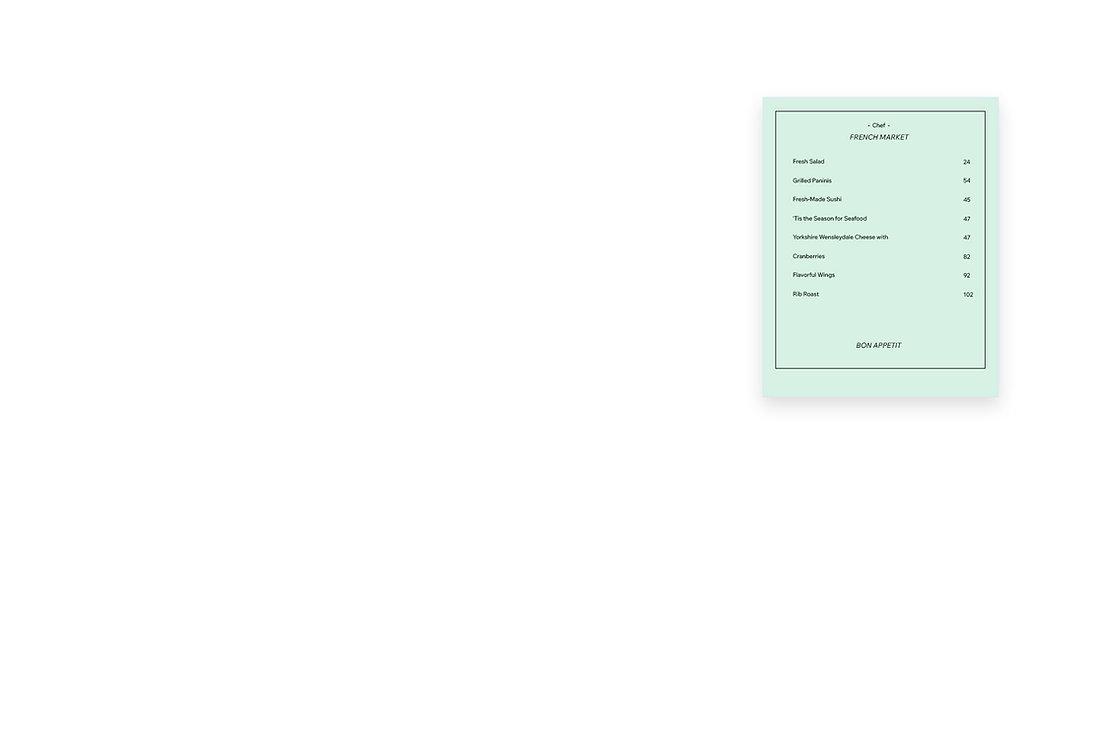 Design d'un menu de restaurant en ligne.