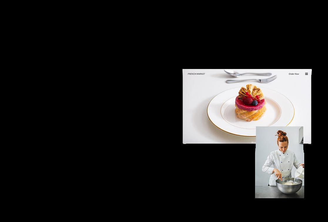 Site web de restaurant qui montre une photo d'un chef cuisinier qui se prépare pour un service.