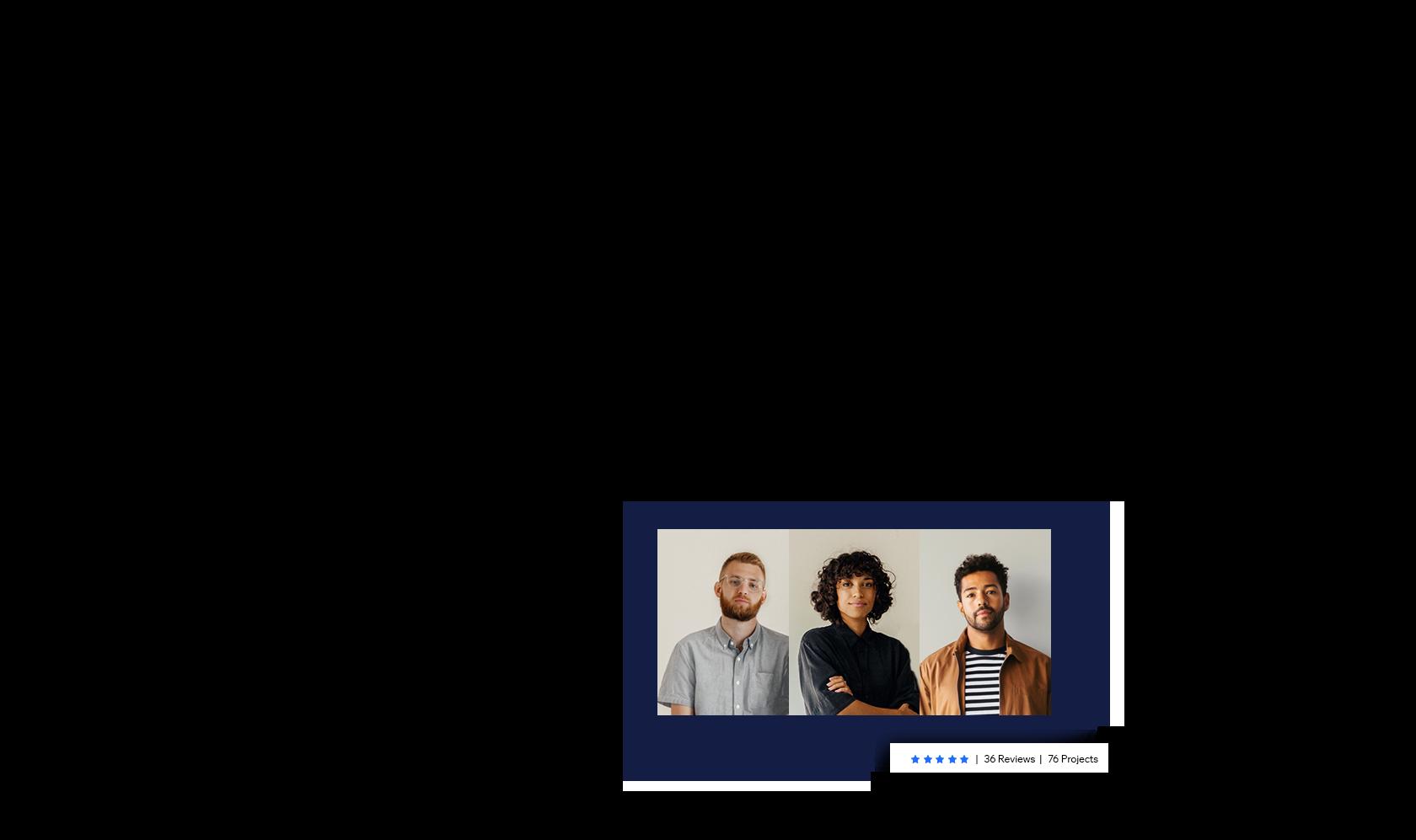 Trois photos portraits des propriétaires d'une agence recrutée via le Wix Marketplace.