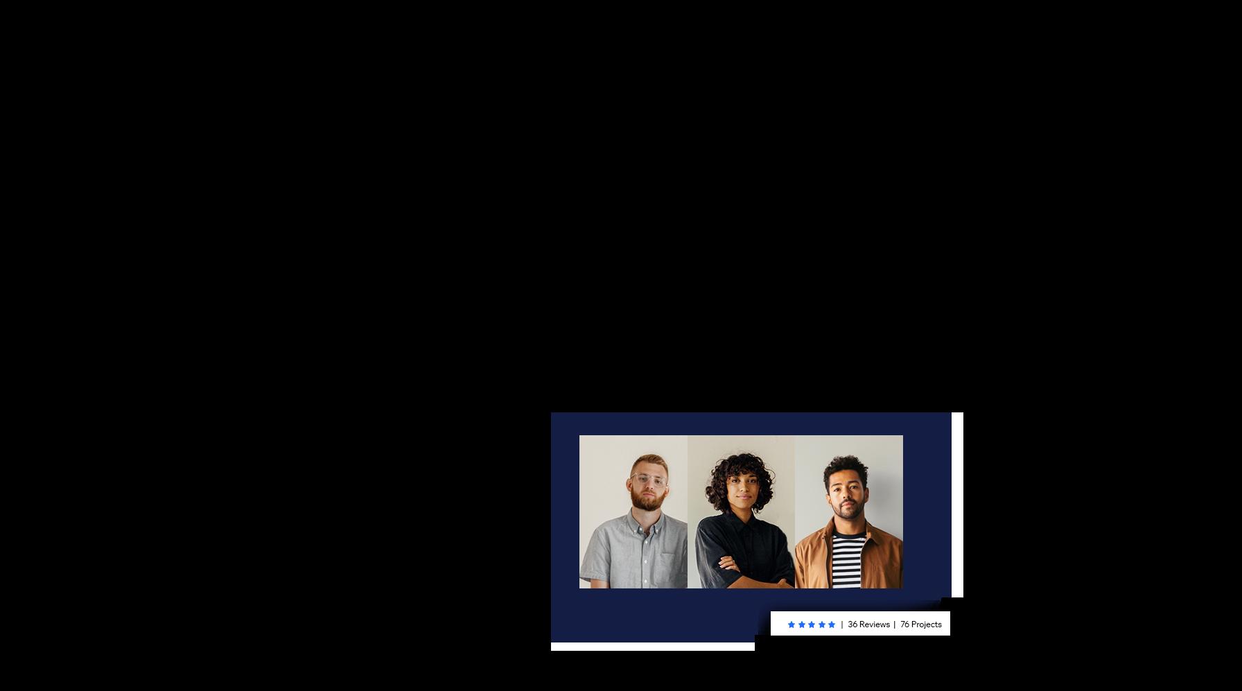 Drie portretfoto's van de eigenaren van een bureau die zijn ingehuurd van de Wix Marketplace.