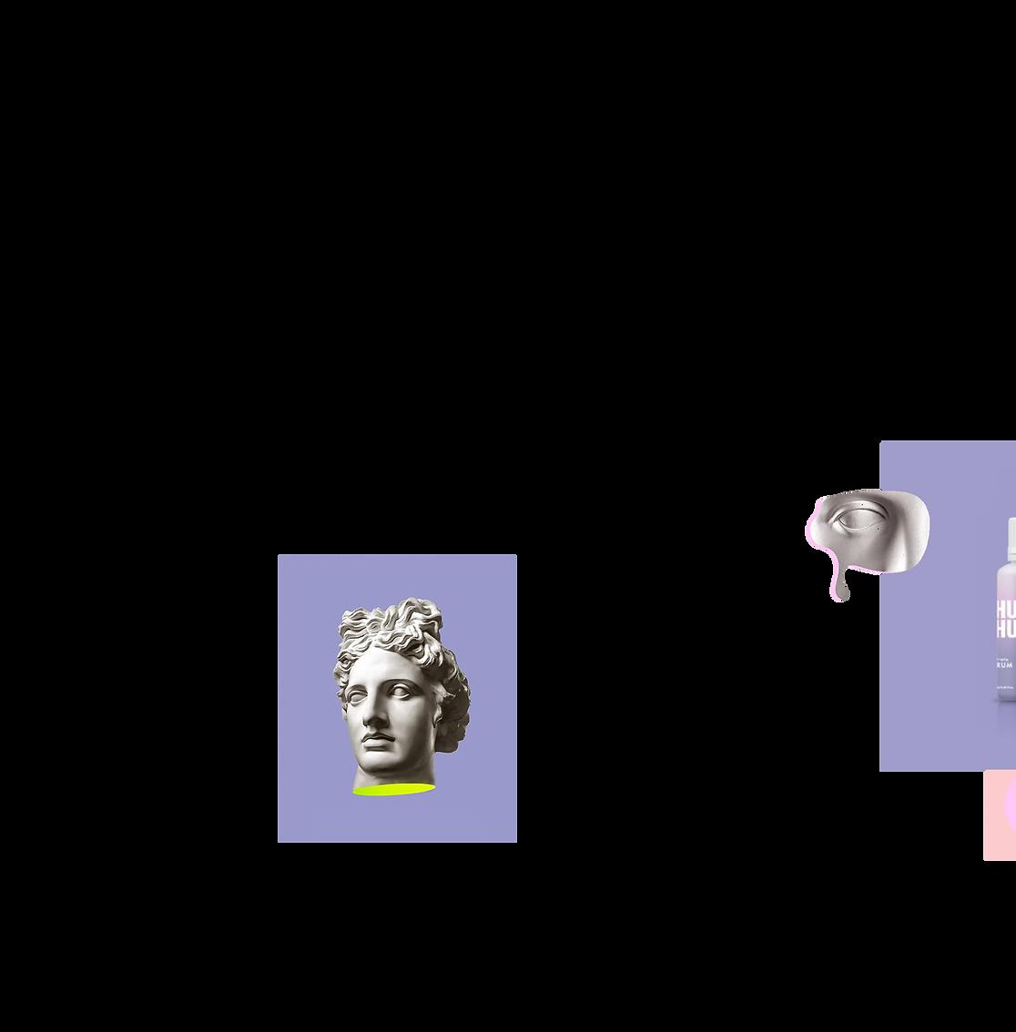 Deux découpages de statues masquées qui flottent sur l'écran.
