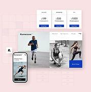 Site web de fitness du nom de Runnerzone qui utilise Bookings et l'agenda pour aider les clients à réserver des sessions en ligne.