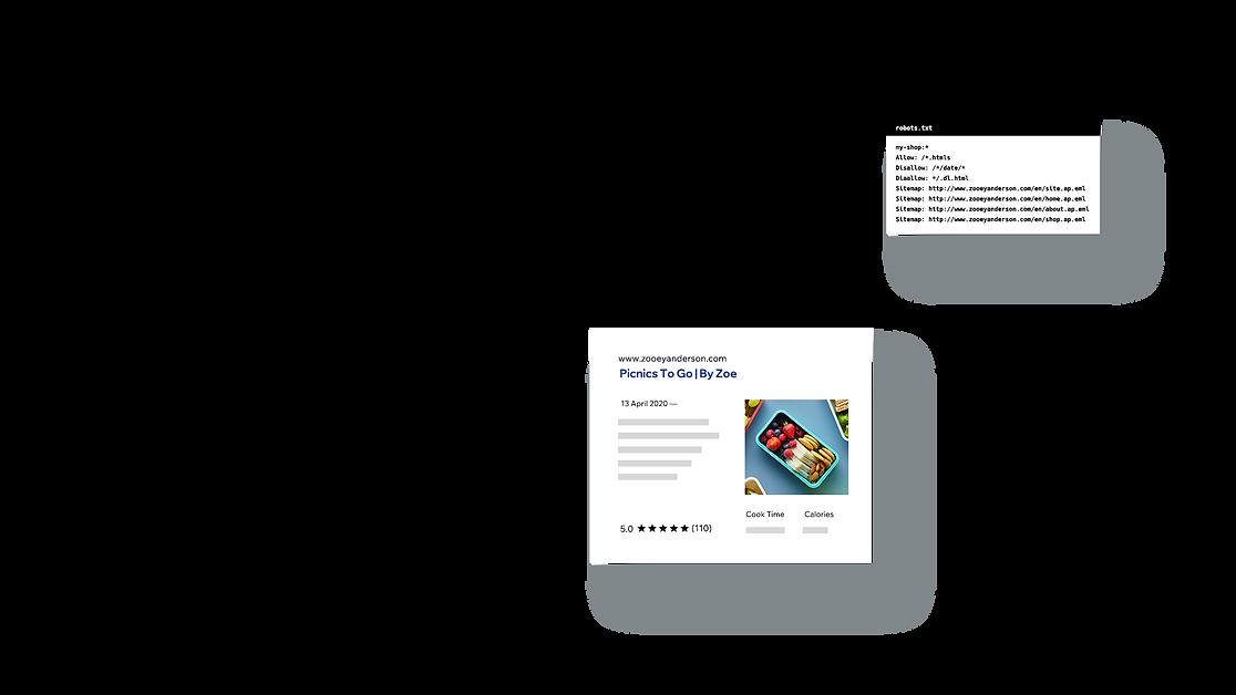 Fonctionnalités avancées de référencement comme le texte robuste et les données structurées.