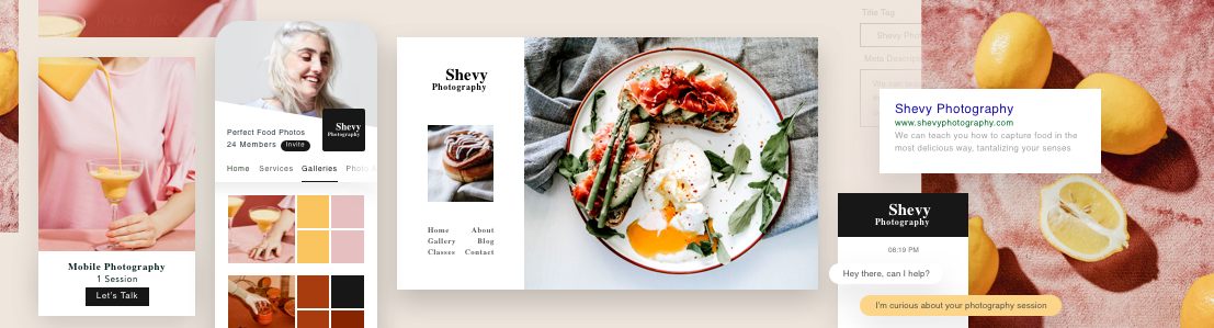 Web s fotografiemi jídla představující nástroje pro správu podnikání