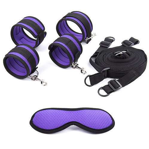 Purple And Black Bed Restraint Kit