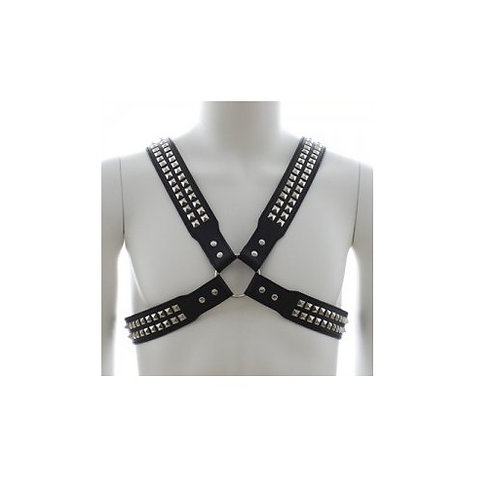 Harness With Two Rows O Shiny Pyramid Studs